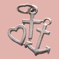 Sterling FAITH HOPE & CHARITY Vintage Estate Charm
