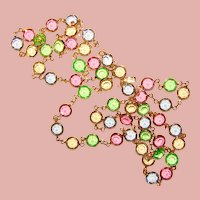 Fabulous SWAROVSKI Bezel Edge Set Color Crystal Stones Vintage Necklace