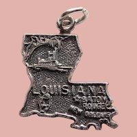 Sterling LOUISIANA Vintage Estate Charm - State Souvenir