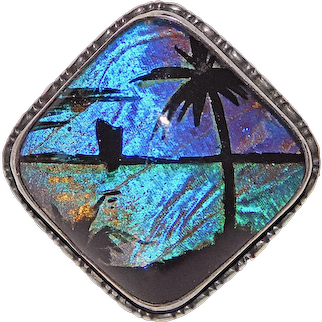 Fabulous THOMAS L MOTT Butterfly Wing Sterling Tropical Palm Tree & Boat Scene Brooch - Blue Morpho - England