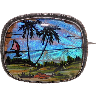 Fabulous THOMAS L MOTT Butterfly Wing Sterling Tropical Palm Trees & Boat Scene Brooch - Blue Morpho - England