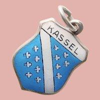 830 Silver & Enamel KASSEL Charm - Souvenir of Germany - Travel Shield