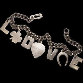 Fabulous Sterling LOVE Heart Charms Vintage Bracelet