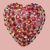 Fabulous HEART Red Aurora Rhinestone Vintage Brooch