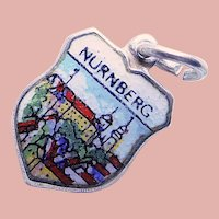800 Silver & Enamel NUREMBERG Nurnberg Charm - Souvenir of Germany - Travel Shield
