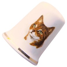 Vintage TABBY CAT Porcelain Estate Thimble - Made in England