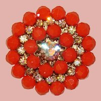 Fabulous AURORA Rhinestone Coral Color Bead Vintage Brooch