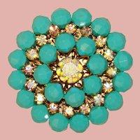 Fabulous AURORA Rhinestone Aqua Color Bead Vintage Brooch