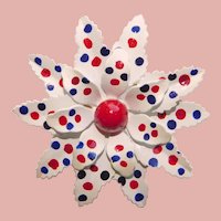 Awesome FLOWER POWER Red White Blue Enamel Polka Dot 1960s Brooch - Made in West Germany