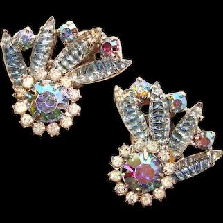 Fabulous BLUE Aurora Special Stones Vintage Rhinestone Earrings