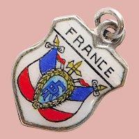 800 Silver & Enamel FRANCE Charm - Souvenir of Europe - Travel Shield