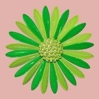 Awesome FLOWER POWER 1960s Green Flower Vintage Brooch