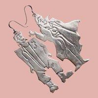 Fabulous Sterling HALLOWEEN Dracula & Frankenstein Monster Huge Earrings - For Pierced Ears - Halloween