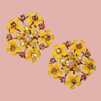 Fabulous YELLOW Enamel Flowers Dimensional Aurora Rhinestone Clip Earrings