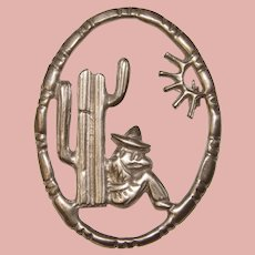 Awesome MEXICAN STERLING Man & Cactus Design Vintage Brooch
