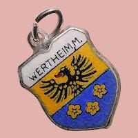 800 Silver & Enamel WERTHEIM AM MAIN Charm - Travel Shield - Souvenir of Germany