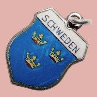 800 Silver & Enamel SWEDEN Schweden Charm - Travel Shield - Souvenir of Europe Scandinavia