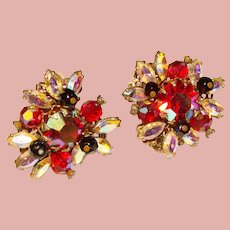Fabulous VENDOME Signed Red Aurora Rhinestone Vintage Clip Earrings