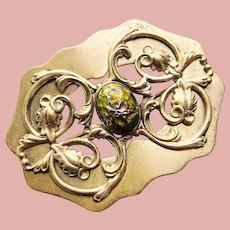 Fabulous Antique Foiled Art Glass Stone Sash Pin Brooch