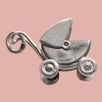 Awesome Sterling BABY BUGGY Stroller Charm - Mechanical Movable