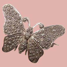 Gorgeous Antique BUTTERFLY Impressed Repousse Brooch