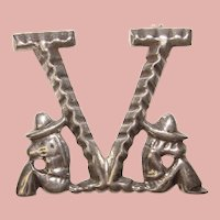 Awesome Mexican Sterling V for Victory Vintage Brooch - WWII Sweetheart