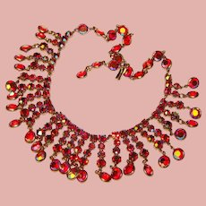 Fabulous Red Aurora Rhinestone & Bezel Set Crystal Stones Vintage Dangle Necklace