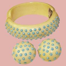 Fabulous 1950s PLASTIC & Aqua Stones Clamper Bracelet Set - with Clip on Earrings