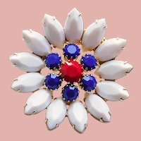 Awesome Red White & Blue Rhinestone Brooch - Patriotic