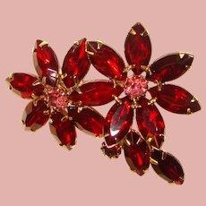 Gorgeous RED & PINK Navette Vintage Rhinestone Brooch
