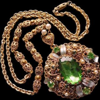 Fabulous West Germany Green Rhinestone Filigree Vintage Necklace