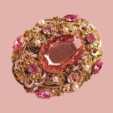 Fabulous West Germany Pink Rhinestone Filigree Vintage Brooch