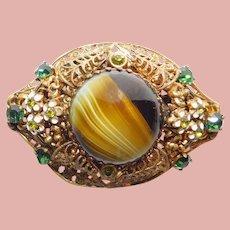 Fabulous GERMANY Art Glass & Green Rhinestone Brooch