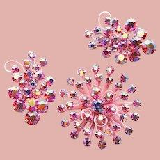 Fabulous PINK AURORA Rhinestone Enamel Set - Brooch & Clip Earrings