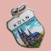 800 Silver & Enamel KOLN Cologne Cathedral Charm - Souvenir of Germany - Travel Shield