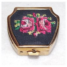 Awesome PETIT POINT Vintage Tiny Trinket or Pill Box
