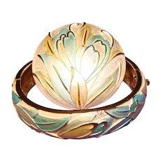 Gorgeous ENAMEL WASH Vintage Bracelet & Brooch Set