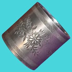 Antique Victorian Floral Design Estate Silverplated Napkin Ring
