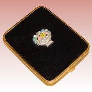 Gorgeous ART DECO Enamel & Rhinestone Flower Basket Compact