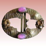 Fabulous VICTORIAN Glowing Pink Glass Antique Belt or Sash Buckle