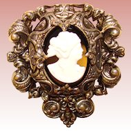 Fabulous CAMEO Huge Vintage Dress Clip Brooch