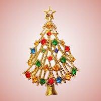Awesome Vintage CHRISTMAS TREE Rhinestone Brooch