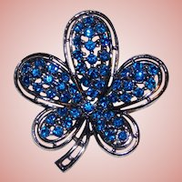Gorgeous Capri Blue Rhinestone Vintage Estate Pin Brooch