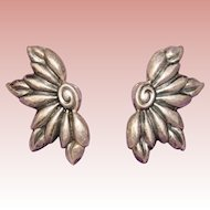 Gorgeous STERLING SILVER Stylized Flower Vintage Estate Earrings