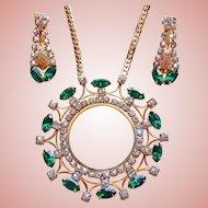 Fabulous Emerald Green & Clear Rhinestone Vintage Estate Necklace Set