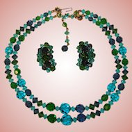 Fabulous Vintage BLUE & GREEN Mixed Color Crystal Beads Necklace Set