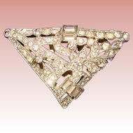 Gorgeous ART DECO Vintage Rhinestone Dress Clip Brooch