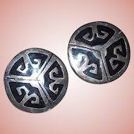 Gorgeous MEXICAN STERLING & Black Enamel Vintage Estate Earrings