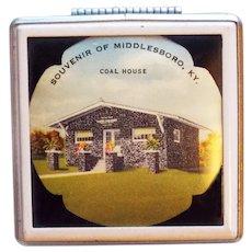 Fabulous COAL HOUSE Vintage Compact - Souvenir of Middlesboro Kentucky - Art Deco