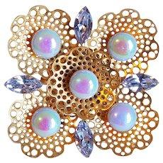 Gorgeous ALEXANDRITE COLOR RHINESTONE & Carnival Glass Vintage Estate Filigree Pin Brooch